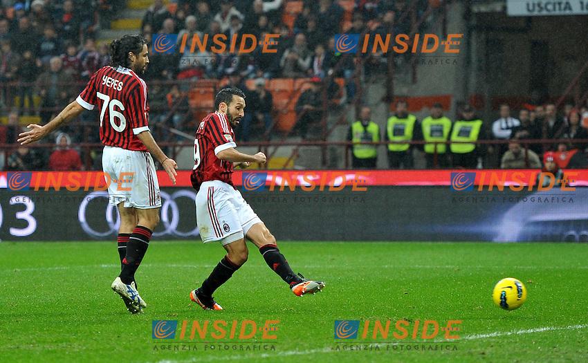 "Il gol di Gianluca ZAMBROTTA (Milan) goal celebration.Milano 6/11/2011 Stadio ""Giuseppe Meazza"".Serie A 2011/2012.Football Calcio Milan Vs Catania.Foto Insidefoto Alessandro Sabattini."
