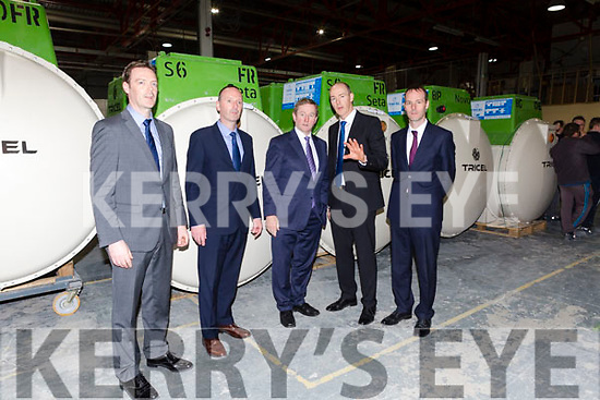 Michael O'Shea and his brothers give Taoiseach Enda Kenny a tour of their Killarney based business Tricel on Monday