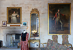 Furniture and paintings inside the Long Drawing Room, Berkeley castle, Gloucestershire, England, UK