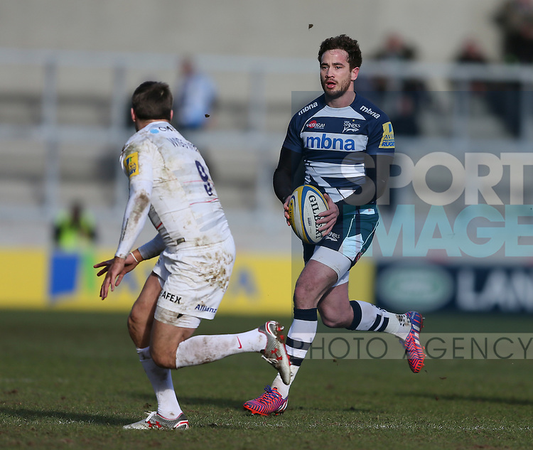 Danny Cipriani of Sale Sharks ball in hand - Aviva Premiership - Sale Sharks vs Saracens - AJ Bell Stadium Stadium - Salford - Manchester - England - 21st February 2015 - Picture Simon Bellis/Sportimage