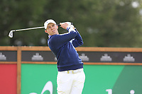 Matthew Fitzpatrick (ENG) tees off the 16th tee during Sunday's Final Round of the 2017 Omega European Masters held at Golf Club Crans-Sur-Sierre, Crans Montana, Switzerland. 10th September 2017.<br /> Picture: Eoin Clarke | Golffile<br /> <br /> <br /> All photos usage must carry mandatory copyright credit (&copy; Golffile | Eoin Clarke)