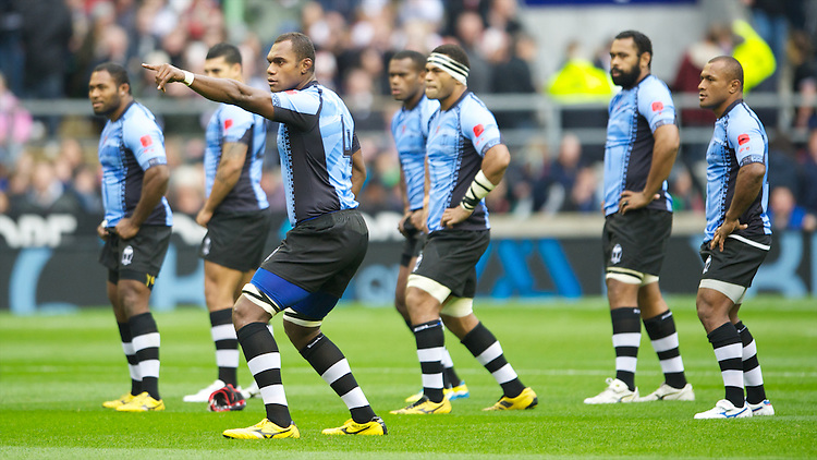 Fiji players perform the Cibi before the kick off of the QBE International between England and Fiji at Twickenham on Saturday 10th November 2012 (Photo by Rob Munro)