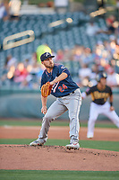Reno Aces starting pitcher Braden Shipley (24) delivers a pitch to the plate against the Salt Lake Bees at Smith's Ballpark on June 26, 2019 in Salt Lake City, Utah. The Aces defeated the Bees 6-4. (Stephen Smith/Four Seam Images)