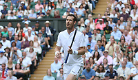 Andy Murray (GBR) whilst playing with Serena Williams (USA) during their match against Andreas Mies (GER) & Alexa Guarachi (CHI) in their Mixed Doubles First Round Match<br /> <br /> Photographer Rob Newell/CameraSport<br /> <br /> Wimbledon Lawn Tennis Championships - Day 6 - Saturday 6th July 2019 -  All England Lawn Tennis and Croquet Club - Wimbledon - London - England<br /> <br /> World Copyright © 2019 CameraSport. All rights reserved. 43 Linden Ave. Countesthorpe. Leicester. England. LE8 5PG - Tel: +44 (0) 116 277 4147 - admin@camerasport.com - www.camerasport.com