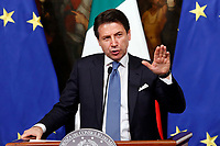 Giuseppe Conte <br /> Rome January 17th 2019. Press conference of  the Italian premier and of the two vice premiers just after the Minister cabinet approved the reform of job (citizenship income) and board.<br /> Foto Samantha Zucchi Insidefoto