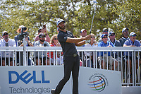 Dustin Johnson (USA) watches his tee shot on 7 during day 2 of the World Golf Championships, Dell Match Play, Austin Country Club, Austin, Texas. 3/22/2018.<br /> Picture: Golffile | Ken Murray<br /> <br /> <br /> All photo usage must carry mandatory copyright credit (&copy; Golffile | Ken Murray)