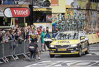 Robert Gesink (NLD/Team LottoNL-Jumbo) is having a mechanical with 1 lap to go directly under the finish arch<br /> <br /> stage 21: Sèvres - Champs Elysées (109km)<br /> 2015 Tour de France