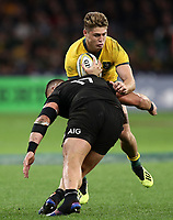 James O'Connor of the Wallabies is tackled by Atu Moli of the All Blacks during the Rugby Championship match between Australia and New Zealand at Optus Stadium in Perth, Australia on August 10, 2019 . Photo: Gary Day / Frozen In Motion