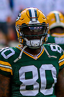 Green Bay Packers tight end Martellus Bennett (80) during a preseason football game against the Philadelphia Eagles on August 10, 2017 at Lambeau Field in Green Bay, Wisconsin. Green Bay defeated Philadelphia 24-9.  (Brad Krause/Krause Sports Photography)