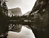 USA, California, Yosemite National Park, Mirror Lake with reflections of Half Dome and Mount Watkins (B&W)