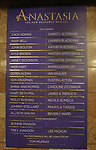 Lobby cast board for the Broadway Opening Night Performance of 'Anastasia' at the Broadhurst Theatre on April 24, 2017 in New York City.
