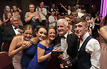 John Hurley, Tralee Musical Society, winner of the Best Technical /Gilbert Section for their production of &quot;Jesus Christ Superstar' surrounded by fellow members  and well wishers after receiving his trophy at the Association of Irish Musical Societies annual awards in the INEC, KIllarney at the weekend.<br /> Photo: Don MacMonagle -macmonagle.com<br /> <br /> <br /> <br /> repro free photo from AIMS<br /> Further Information:<br /> Kate Furlong AIMS PRO kate.furlong84@gmail.com