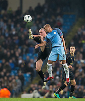 Scott Brown of Celtic & Fernando of Manchester City in action during the UEFA Champions League GROUP match between Manchester City and Celtic at the Etihad Stadium, Manchester, England on 6 December 2016. Photo by Andy Rowland.