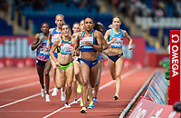 pace maker Kendra CHAMBERS of USA leads the first 400 metres during the Muller Grand Prix Birmingham Athletics at Alexandra Stadium, Birmingham, England on 20 August 2017. Photo by Andy Rowland.
