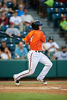 Richmond Flying Squirrels shortstop Ryan Howard (8) follows through on a swing during a game against the Trenton Thunder on May 11, 2018 at The Diamond in Richmond, Virginia.  Richmond defeated Trenton 6-1.  (Mike Janes/Four Seam Images)