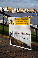 Thames Barrier closure and flooding of the Thames path