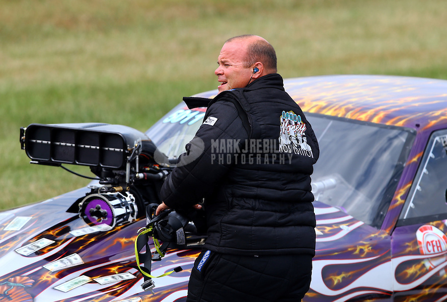 Aug. 31, 2013; Clermont, IN, USA: NHRA pro mod driver Mike Knowles during qualifying for the US Nationals at Lucas Oil Raceway. Mandatory Credit: Mark J. Rebilas-
