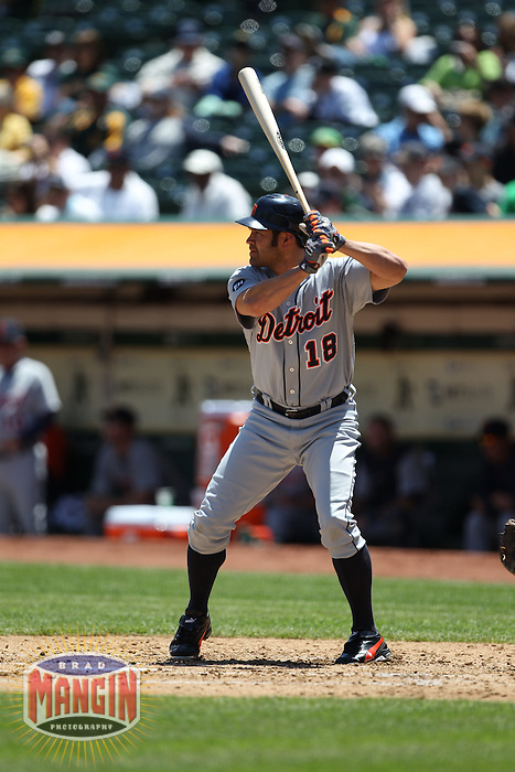 OAKLAND, CA - MAY 20:  Johnny Damon of the Detroit Tigers bats against the Oakland Athletics during the game at the Oakland-Alameda County Coliseum on May 20, 2010 in Oakland, California. Photo by Brad Mangin