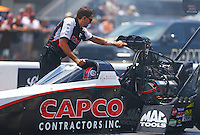 Jun 19, 2016; Bristol, TN, USA; Gary Pritchett , crew member for NHRA top fuel driver Steve Torrence during the Thunder Valley Nationals at Bristol Dragway. Mandatory Credit: Mark J. Rebilas-USA TODAY Sports