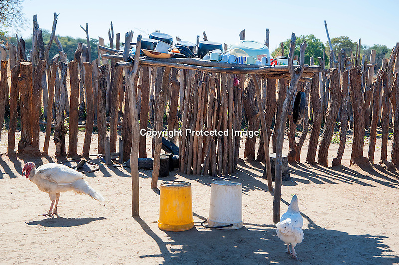 Dishes Drying on Rack in Yard at a Village Home in Rural Ziga Village in Zimbabwe