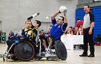 27 MAY 2013 - DONCASTER, GBR - Ross Morrison (right ) of Kent Crusaders prepares to pass during the 2013 Great Britain Wheelchair Rugby Nationals final against Stoke Mandeville Storm at The Dome in Doncaster, South Yorkshire, Great Britain .(PHOTO (C) 2013 NIGEL FARROW)