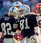 Oakland Raiders vs. Cincinnati Bengals at Oakland Alameda County Coliseum Sunday, October 25, 1998.  Raiders beat Bengals 27-10.  Oakland Raiders wide receiver Tim Brown (81).
