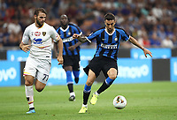 Calcio, Serie A: Inter Milano - Lecce, Giuseppe Meazza stadium, September 26 agosto 2019.<br /> Inter's Matias Vecino (l) in action with Lecce's Panagiotis Tachtsidis (r) during  the Italian Serie A football match between Inter and Lecce at Giuseppe Meazza (San Siro) stadium, September August 26,, 2019.<br /> UPDATE IMAGES PRESS/Isabella Bonotto