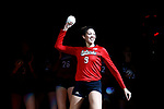 KANSAS CITY, KS - DECEMBER 14: Chesney McClellan #9 of the University of Nebraska is introduced prior to the Division I Women's Volleyball Semifinals held at Sprint Center on December 14, 2017 in Kansas City, Missouri. (Photo by Tim Nwachukwu/NCAA Photos via Getty Images)