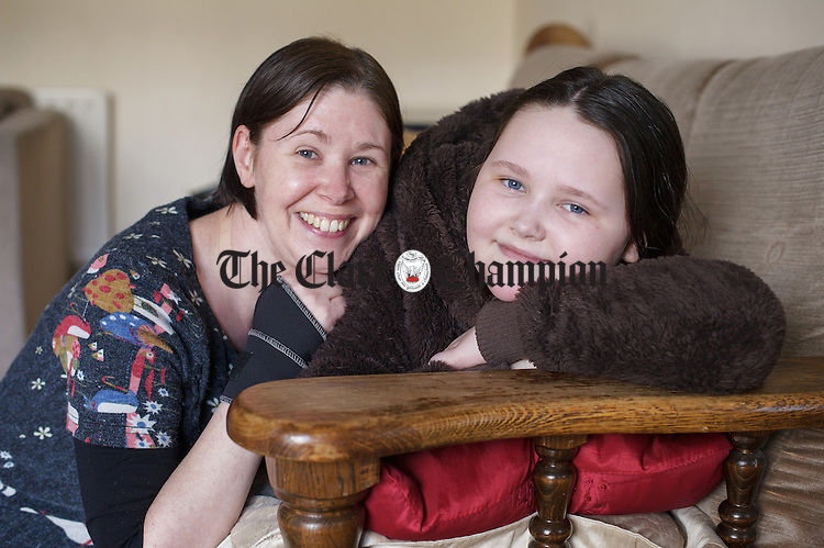 Eleven year old Aoife Sage of Sixmilebridge who suffers from Ehlers–Danlos syndrome (EDS) pictured with her mother Susan. Photograph by John Kelly.