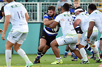 Will Vaughan of Bath United takes on the Saracens Storm defence. Aviva A-League match, between Bath United and Saracens Storm on September 1, 2017 at the Recreation Ground in Bath, England. Photo by: Patrick Khachfe / Onside Images