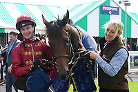 Jockey Oisin Murphy and Groom in the Winners enclosure with Kick On after winning The Tattersalls Sovereign Stakes during Horse Racing at Salisbury Racecourse on 15th August 2019