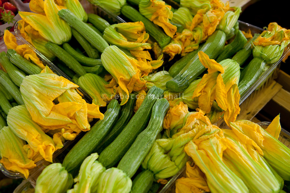 Courgettes for sale at the Marché Provençal, Antibes, France, 26 April 2012