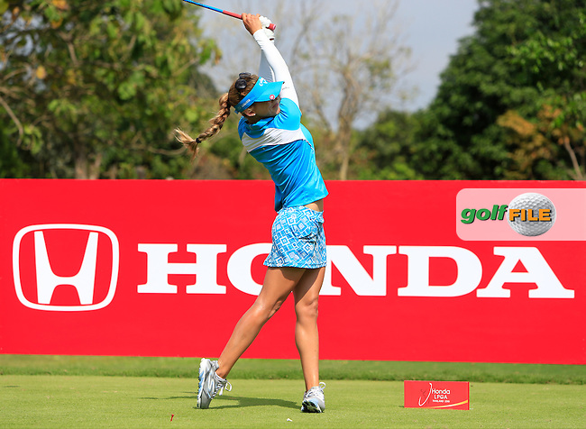 Belen Mozo (ESP) on the 6th tee during Round 1 of the Honda LPGA at the Siam Country Club Old Course in Pattaya on Thursday 26th February 2015.<br /> Picture:  Thos Caffrey / www.golffile.ie