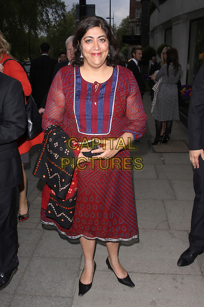 GURINDER CHADHA.At the Sony Radio Academy Awards, Grosvenor House Hotel, Park Lane, London, England, UK, May 10th 2010..full length red purple dress black shoes blue print .CAP/AH.©Adam Houghton/Capital Pictures.