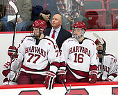 Lewis Zerter-Gossage (Harvard - 77), Ted Donato (Harvard - Head Coach), Ryan Donato (Harvard - 16), Eddie Ellis (Harvard - 7) - The Harvard University Crimson defeated the visiting Cornell University Big Red on Saturday, November 5, 2016, at the Bright-Landry Hockey Center in Boston, Massachusetts.