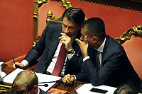 Giuseppe Conte and Luigi Di Maio<br /> Rome August 20th 2019. Senate. Speech of the Prime Minister about the crisis of Government. Just after the speech the Premier went to the President of the Republic to resign<br /> Foto  Insidefoto