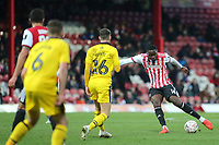 Josh DaSilva of Brentford takes a shot at the Oxford goal during Brentford vs Oxford United, Emirates FA Cup Football at Griffin Park on 5th January 2019
