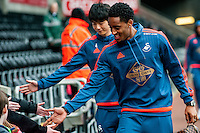 Ki Sung-Yueng and Leroy Fer of Swansea City  arrive at the Liberty Stadium the Barclays Premier League match between Swansea City and Southampton  played at the Liberty Stadium, Swansea  on February 13th 2016