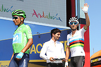 ESPAÑA, 31-08-2019: Alejandro Valverde (ESP - MOVISTAR) saluda a los fans previo a la etapa 8, hoy, 31 de agosto de 2019, que se corrió entre Valls e Igualada con una distancia de 166,9 km como parte de La Vuelta a España 2019 que se disputa entre el 24/08 y el 15/09/2019 en territorio español. / Alejandro Valverde (ESP - MOVISTAR) greets the fans prior the stage 8 today, August 31, 2019, from Valls to Igualada with a distance of 166,9 km as part of Tour of Spain 2019 which takes place between 08/24 and 09/15/2019 in Spain.  Photo: VizzorImage / Luis Angel Gomez / ASO<br /> VizzorImage PROVIDES THE ACCESS TO THIS PHOTOGRAPH ONLY AS A PRESS AND EDITORIAL SERVICE AND NOT IS THE OWNER OF COPYRIGHT; ANOTHER USE HAVE ADDITIONAL PERMITS AND IS  REPONSABILITY OF THE END USER