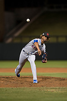 Scottsdale Scorpions relief pitcher Gerson Bautista (46), of the New York Mets organization, delivers a pitch during an Arizona Fall League game against the Salt River Rafters at Salt River Fields at Talking Stick on October 11, 2018 in Scottsdale, Arizona. Salt River defeated Scottsdale 7-6. (Zachary Lucy/Four Seam Images)