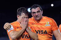 Nicolas Sanchez (left) is overcome with emotion, with Agustin Creevy, after the Super Rugby match between the Chiefs and Jaguares at Rotorua International Stadum in Rotorua, New Zealand on Friday, 4 May 2018. Photo: Dave Lintott / lintottphoto.co.nz
