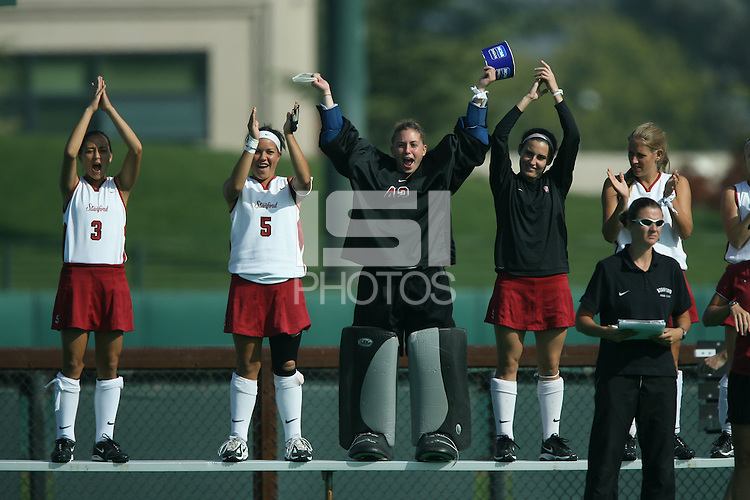 6 November 2007: Stanford Cardinal Midori Uehara, Nora Soza, Alessandra Moss, and  Caroline Hussey during Stanford's 1-0 win against the Lock Haven Lady Eagles in an NCAA play-in game to advance to the NCAA tournament at the Varsity Field Hockey Turf in Stanford, CA.