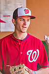22 August 2015: Washington Nationals infielder Trea Turner stands in the dugout prior to a game against the Milwaukee Brewers at Nationals Park in Washington, DC. The Nationals defeated the Brewers 6-1 in the second game of their 3-game weekend series. Mandatory Credit: Ed Wolfstein Photo *** RAW (NEF) Image File Available ***