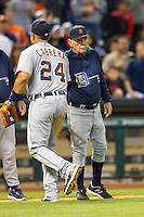 Detroit Tigers manager Jim Leyland shakes the hand of Miguel Cabrera after the MLB baseball game against the Houston Astros on May 3, 2013 at Minute Maid Park in Houston, Texas. Detroit defeated Houston 4-3. (Andrew Woolley/Four Seam Images).