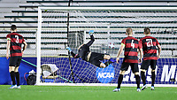 CARY, NC - DECEMBER 13: Sean Zawadzki #6 of Georgetown University (not pictured) scores the game's first goal past Andrew Thomas #1 of Stanford University during a game between Stanford and Georgetown at Sahlen's Stadium at WakeMed Soccer Park on December 13, 2019 in Cary, North Carolina.