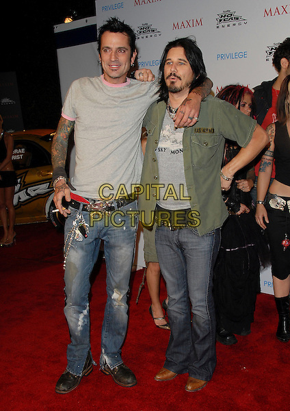 TOMMY LEE & GILBY CLARKE.The Maxim Magazine X Games After Party held at Privilege in West Hollywood , California, USA..August 3rd, 2006.Ref: DVS.full length grey gray tee shirt tattoos jeans denim green.www.capitalpictures.com.sales@capitalpictures.com.©Debbie VanStory/Capital Pictures