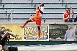 04 April 2015: Carolina's Tiyi Shipalane (RSA) celebrates scoring a goal. The Carolina RailHawks hosted the Ottawa Fury FC at WakeMed Stadium in Cary, North Carolina in a North American Soccer League 2015 Spring Season match. Carolina won the game 3-1.