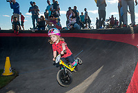 NWA Democrat-Gazette/BEN GOFF @NWABENGOFF<br /> Children race Wednesday, Oct. 10, 2018, during the Strider Bikes pump track races at The Jones Center's Runway Bike Park in Springdale. Children ages 3-6, divided into two age groups, raced head-to-head to see who was the fastest on the balance bikes designed to help young children learn how to ride. It was the first competetive event to use the new pump track that was built to host the Red Bull Pump Track World Championship Final coming up Saturday.