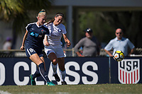 Sanford, FL - Saturday Oct. 14, 2017:  A Courage player passes the ball away from pressure during a US Soccer Girls' Development Academy match between Orlando Pride and NC Courage at Seminole Soccer Complex. The Courage defeated the Pride 3-1.