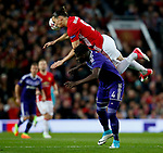 Zlatan Ibrahimovic of Manchester United collides with Serigne Modou Kara Mbodji of Anderlecht during the UEFA Europa League Quarter Final 2nd Leg match at Old Trafford, Manchester. Picture date: April 20th, 2017. Pic credit should read: Matt McNulty/Sportimage